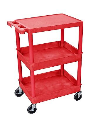 Offex STC211 Flat Top and Tub Middle/Bottom Shelf Cart Red