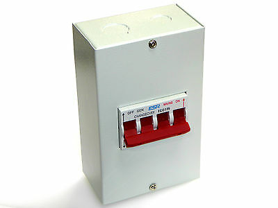 changeover switch 230v mains to generator 125 amp metal enclosure box  125A