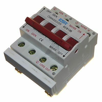 125 amp changeover switch 240V mains to generator transfer single phase Din rail
