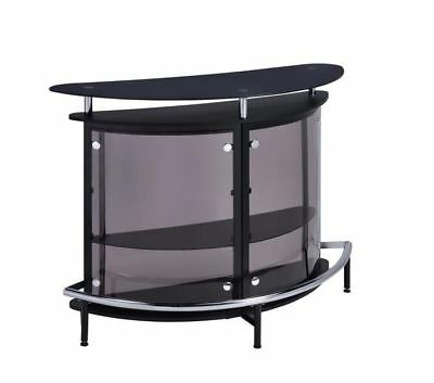 Contemporary Black Bar Table Unit with Smoked Acrylic Front by Coaster 101065