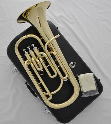 High grade Gold Bb key Baritone Piston horn with new case mouthpiece