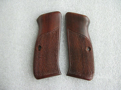 Grip for CZ 75/85 Full Size, Half Checkered with Frame line, Dark tone hard wood