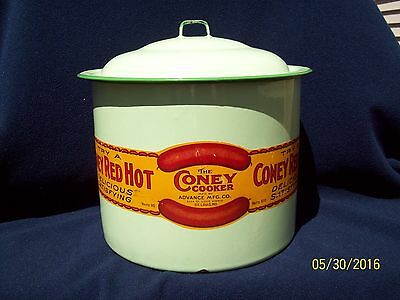 Rare Enamelware Coney Dog Cooker ~ Great Graphics!