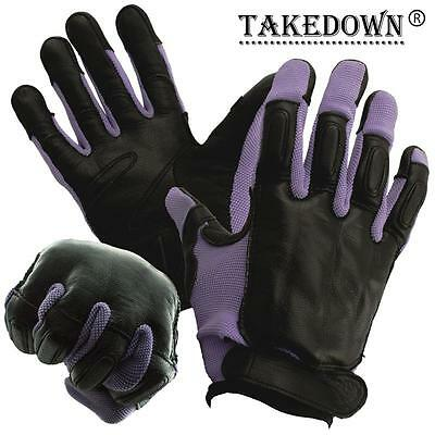Genuine Sap Gloves Real Black Leather With Purple Nylon Comfortable Size L