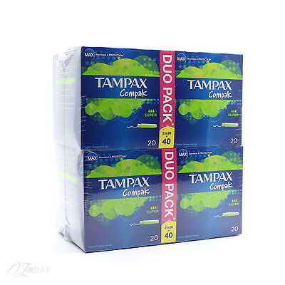 New Tampax Compak Duo Applicator Tampon Super 4x20