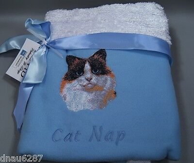 "Ragdoll Cat Fleece Embroidered Blue Cat Blanket by Bevid 30""x30"""
