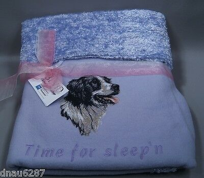 "Border Collie Fleece Embroidered Dog Blanket - by Bevid 36""x36"""
