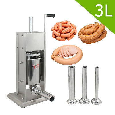 Commercial 2 Speed 3L Stainless Steel Vertical Sausage Stuffer Meat Maker Filler