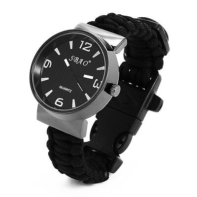 Outdoor Watch With Survival Compass Whistle Fire Starter Watchband Bracelet New