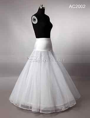 New A-line 1 Hoop Bridal Wedding Underskirt Petticoat Skirt Slip White Crinoline