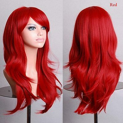 Fashion Womens Lady Long Hair Wig Curly Wavy Synthetic Anime Cosplay Party Wigs