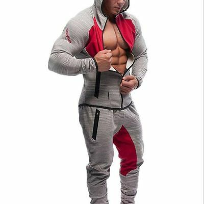 2016 new Gym men's sport sweater slim fitness running sweater Shirt + trousers