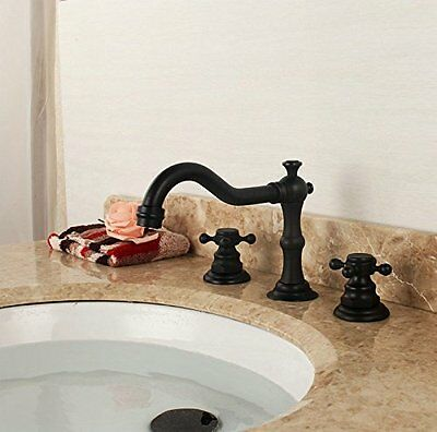 Beelee Deck Mounted Three Holes Double Handles Bathroom Sink Faucet Mixer Tap