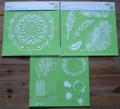 "U Choose) 3 Designer Templates Stencils 12x12"" Mixed Media ~ Feathers ~ Mandala"
