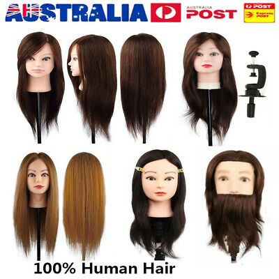 Hairdressing 100% Human Hair Head Mannequin Makeup Cosmetology Model Manikin