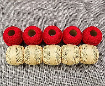 Mercerized Cotton Crochet Yarn Ball Embroidery Thread Skeins Lot Of 10 Pcs