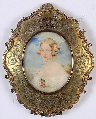 """Sir William Charles Ross """"Lady with rose in her hair"""", high quality miniature!"""
