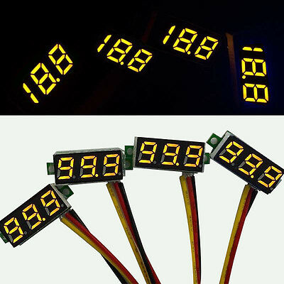 "4x Mini DC 0-100V 0,28"" LED Digitalanzeige Voltmeter Panel Meter gelb"