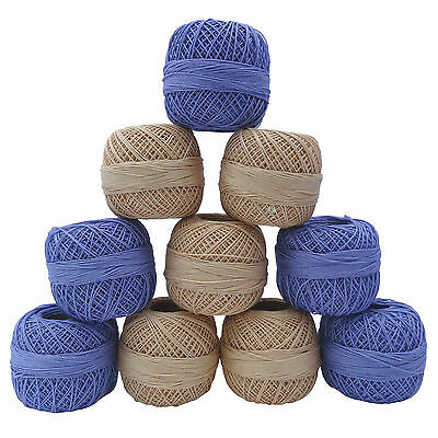 Set of 10 Pcs Cotton Crochet Skein Yarn Knitting Embroidery Thread Tatting Ball