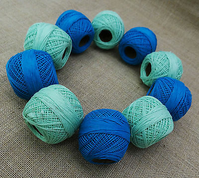 Blue Green Crochet Cotton Embroidery Yarn Thread Skein Tatting Lot of 10 Pcs