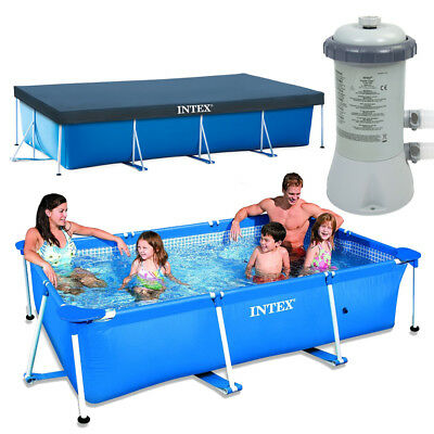 INTEX Family Swimming Pool Frame 300x200x75cm + Poolpumpe 2271l/h + Abdeckplane