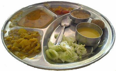PREMIUM STAINLESS STEEL INDIAN THALI DISH curry plate food tray 381 (Harish)