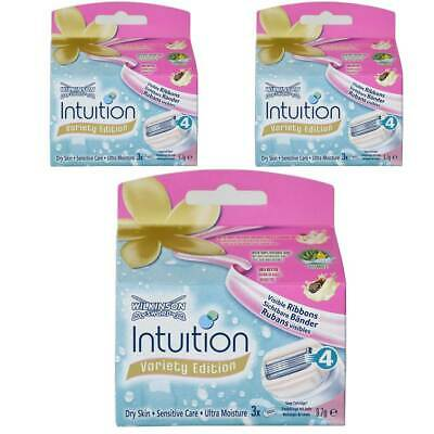 3x Wilkinson Intuition Naturals Sensitiv Care 3 Rasierklingen mit Seife und Aloe