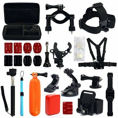 30-in-1 GoPro Hero2 3 3+ 4 Camera Accessories Set Kit Head Strap Chest Tri Mount