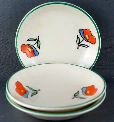 Lot of Three Handcrafted Poppy Woods Ivory Ware Butter Pats