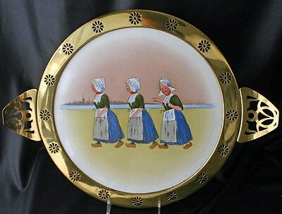Hand Painted Porcelain Pierced Brass Frame Tray Germany