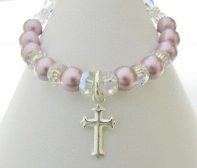 Baby Girl Bracelet Christening Baptism Made With Swarovski Crystal Pearls,Cross