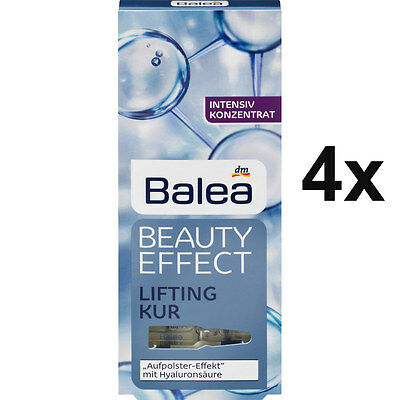 4 Packs Balea Beauty Effect Lifting Kur Hyaluronic Acid Ampoules