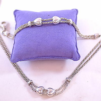 Tiffany & Co Silver Double Rope Style Heart Choker and Bracelet Set