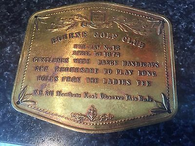 Vintage Golf BOURNE GOLF CLUB Brass Plaque BYE-LAW No 16 1874 Made In England