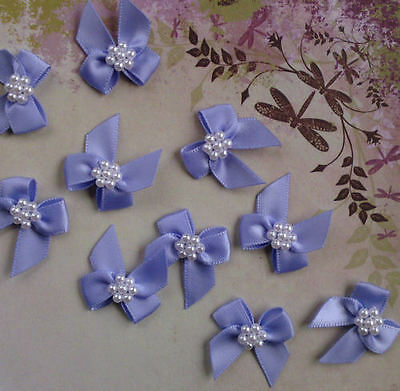 Satin Ribbon Bow With Pearls Wisteria Qty 10 Embellishments Craft Sewing
