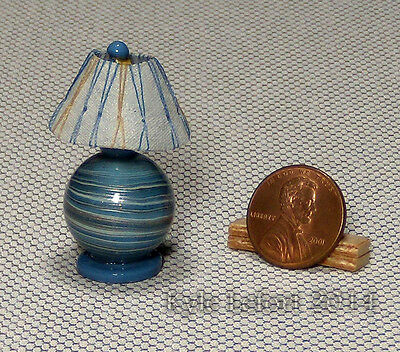 Handmade Artisan Dollhouse Miniature Blue and Gold Orb Table Lamp - 1:12 Scale