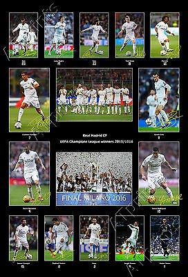Real Madrid Signed Photo Poster Print Squad 2015 2016 Ronaldo Bale Benzema Team