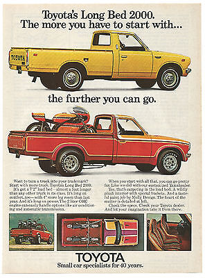 Vintage 1974 Toyota Long Bed 2000 Pickup Truck Print Ad