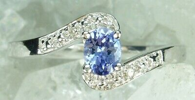 NEW Solid 925 Sterling Silver Natural Tanzanite Diamond Ring Size N 1/2 or 6 3/4