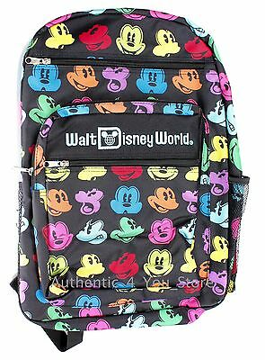 NEW Disney Parks Mickey Mouse Faces Backpack Black and White Disney World Bag