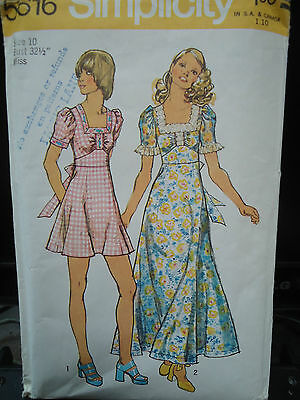 Vintage 1973 Simplicity 5616 Sewing Pattern Peasant Ruffle Dress Women's Size 10