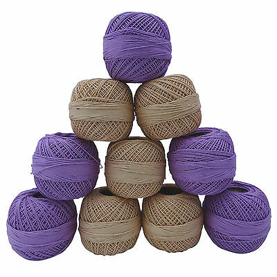 Set Of 10 Pcs Tatting Crochet Cotton Knitting Yarn Embroidery Thread Skein Ball