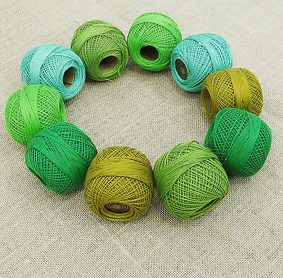 Green Crochet Cotton Thread Lot Of 10 Pcs Yarn Embroidery Knit Skein Tatting