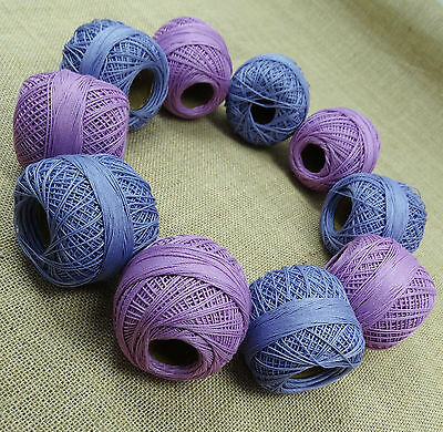 Purple Blue Crochet Cotton Thread Lot Of 10 Pcs Yarn Embroidery Skein Tatting