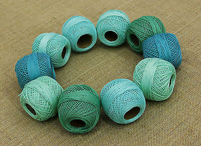 Crochet Cotton Green Blue Thread 10 Pcs Yarn Embroidery Knitting Skein Tatting