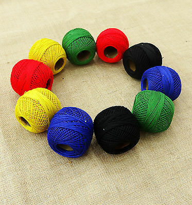 Multicolor Mercerized Cotton 10 Pcs Crochet Yarn Knitting Thread Ball Embroidery