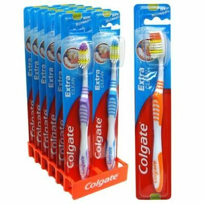 12 x Colgate Extra Clean Toothbrush medium - Multi Coloured