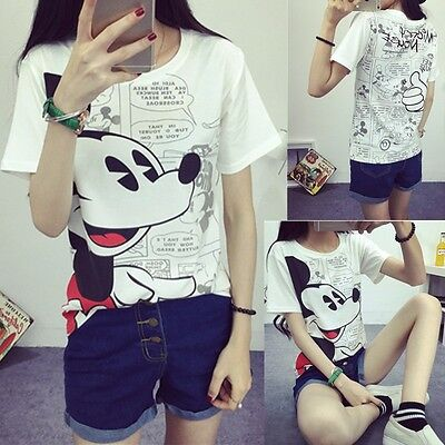 Cute cartoon woman Mouse cat white loose short sleeve T-shirt Tops Blouse US