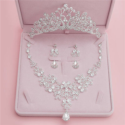 Shining Wedding Crystal Tiara Crown+Necklace+Earrings Set Bridal Accessory New