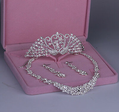 Crystal Wedding New Tiara Crown+Necklace+Earrings Set Bridal Accessory Jewellery